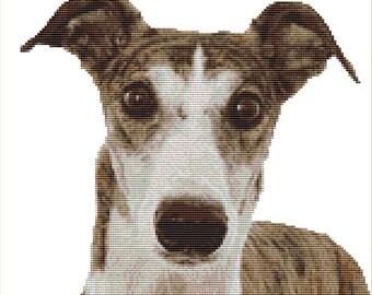 CROSS STITCH KIT- Greyhounf face 26cm x 25cm