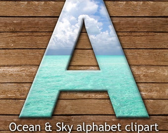 Ocean and Sky Alphabet Clipart, Tropical Ocean Alphabet, Turquoise Waters, Summer Beach Alphabet Clipart, Tropical Alphabet