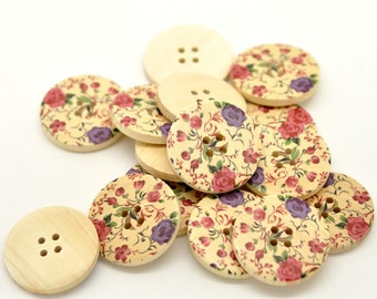 Purple and Pink Flower Design Wooden Buttons 30mm.  Sewing Knitting Scrapbook and other craft projects