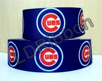 "7/8"" Cubs Inspired Grosgrain Ribbon"
