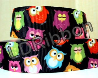"7/8"" Owl Grosgrain Ribbon"