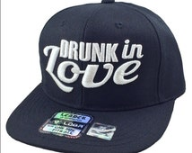 Flat Bill Snapback Hip 3D DRUNK IN LOVE Hip Hop Surfboard Hip Hop Flawless Black/White