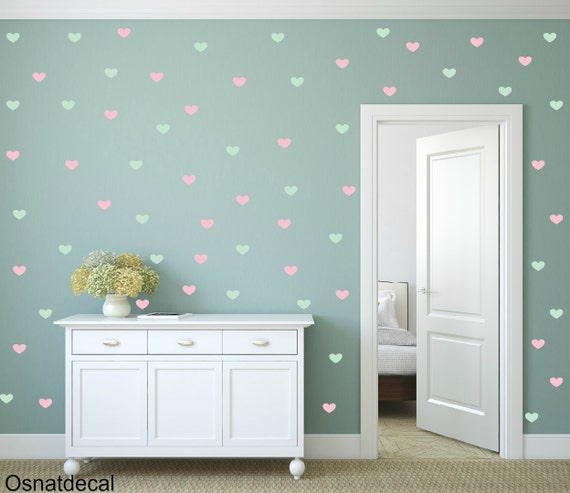 FREE SHIPPING Wall Decal 159 Color Mint & Pink Hearts. Nursery Wall Decal.Wall Art. Wall Paper.Vinyl Wall Decal. Diy Wall Decal.