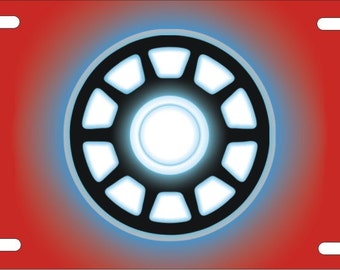 Iron Man Arc Reactor red background Custom Novelty License Plate front Auto plate