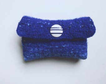 Deep blue felted iPhone wallet