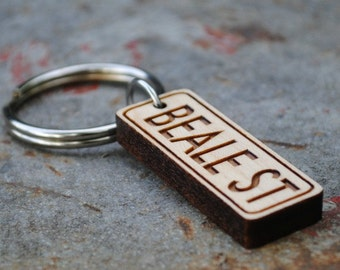 Wooden Beale Street KEYCHAIN or NECKLACE Memphis Tennessee Blues Music