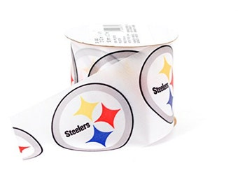 "2-1/2"" NFL Pittsburgh Steelers Ribbon, 9 feet, Licensed NFL Offray Ribbon"