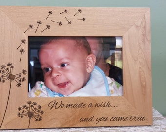 DANDELION Baby Photo Frame We made a wish and you came true, Personalized Wooden Frame