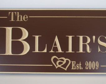 Personalized Wedding Gift Family Established Sign Carved Plaque