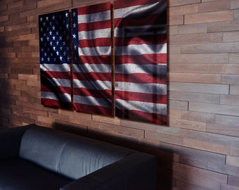 Lovely Flag Wall Art Triptych Wave USA American Wall Decor On Aluminum Panels Part 20