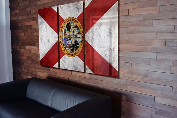 Triptych Florida State Flag Hanging Rustic Worn Metal Wall Art