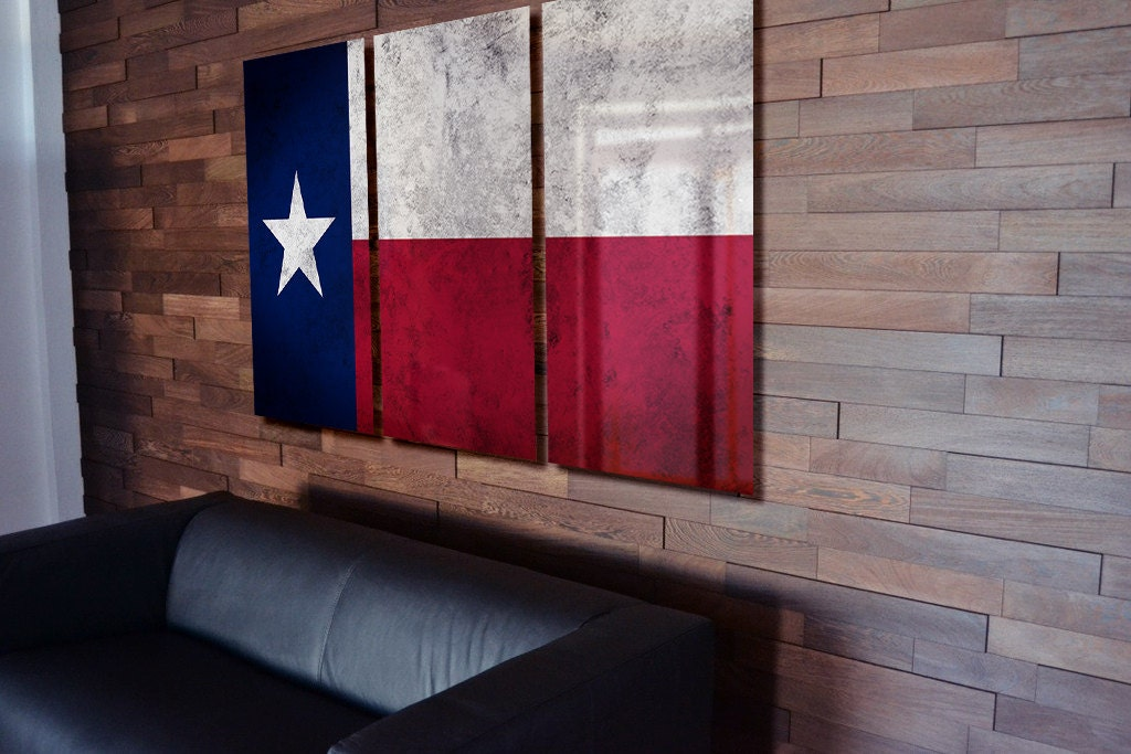 Triptych Texas State Flag Hanging Rustic Worn Metal Wall Art