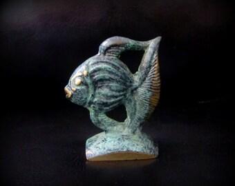 Vintage Brass Scalar Fish Angelfish // green patina
