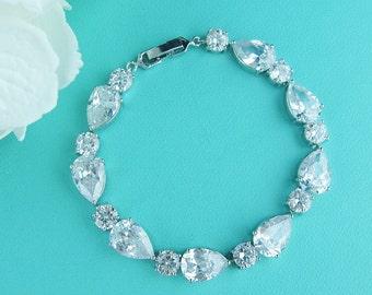 Bridal Jewelry bracelet, cz wedding bracelet, cz bracelet, cubic zirconia bracelet, bridal jewelry, pear wedding bracelet 228546918