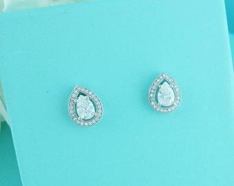 Wedding earrings, CZ stud earrings, bridal earrings, tear drop pear cubic zirconia earrings dangle earring, wedding stud earrings 235935894