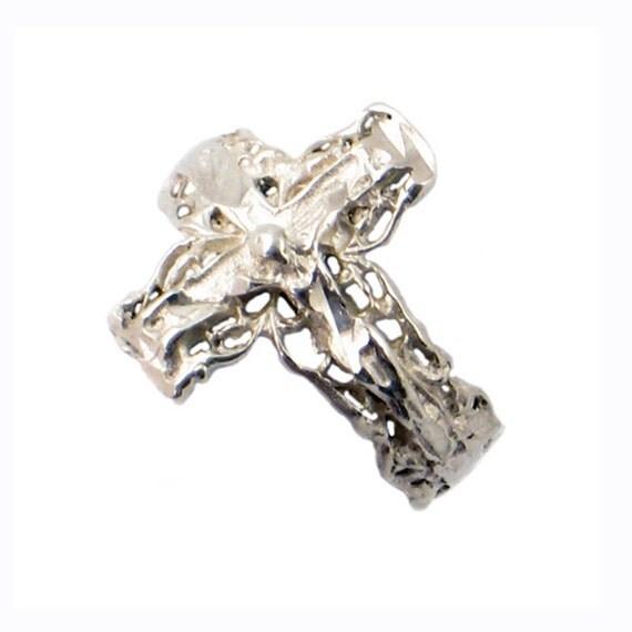 silver crucifix cross ring sterling by encorejewelryandgems