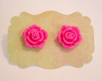 Hot Pink Flower Stud Earrings