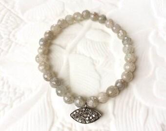 Labradorite and Sterling Silver Pave Diamond Evil Eye Stretch Bracelet