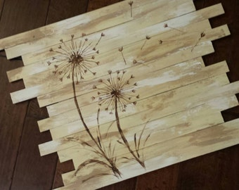 Handpainted Rustic Dandelion Wood Scrap Wall Hanging - Beautiful for Home or Office Decor