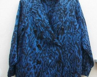 Vintage Yves Saint Laurent chemisiers Blue and Black Satin Blazers Size S.
