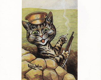 Louis Wain Cat Print Art vintage book plate - Entrenched victorian feline illustration soldier cat
