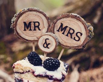Rustic Wedding Cake Topper // Fall Wedding Tree Slice Cake Topper