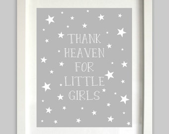 Thank Heaven For Little Girls Print // Twins Nursery Wall Art // Girl Nursery Prints // Stars Art // Twin Girls Art