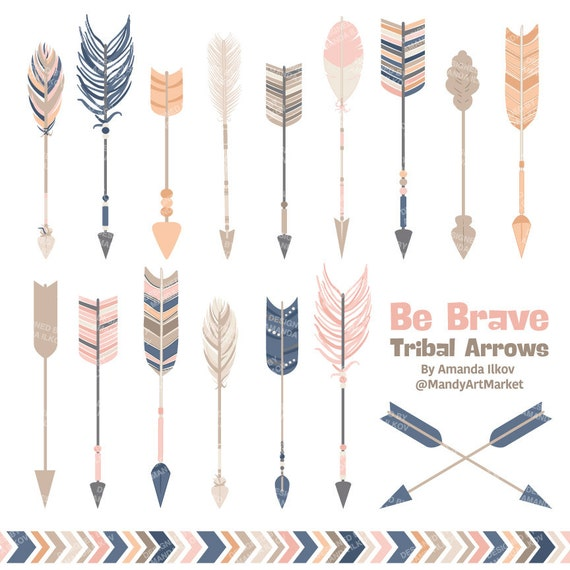 Professional Tribal Arrows Clipart & Vectors in Navy and Blush