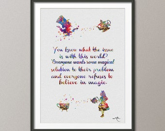 Mad Hatter Tea Party 2 Alice in Wonderland Quote Watercolor Print  Tea Time Kitchen Art For Kids Nursery Wedding gift Wall Hanging [NO 435]
