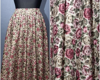 Vintage flowery skirt with elastic waist / Size M / L