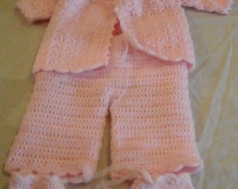 4 Piece Pram Set, Baby Clothes, Matinee Set Crochet Baby Clothes, 0-3 month old, For her, New baby