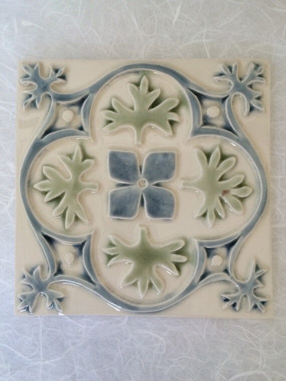 Decorative Ceramic Tile 6 X 6 Blue And Green