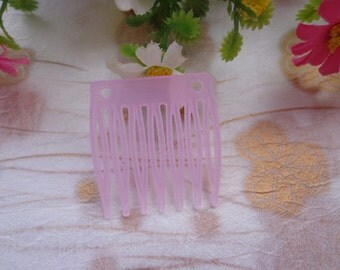 SALE--50 pcs Pink Transparent plastic Hair Combs (7teeth) 32mmx35mm