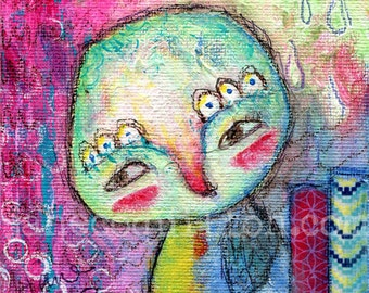 Promise, original painting 4x4in, mixed media
