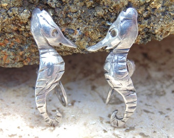 Vintage Sterling Silver Hand Made Seahorse Screw Back Earrings c. 1930's