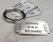 Personalised Sterling Silver Cinema Ticket Keyring - Silver Anniversary Gift - Wedding Day Keepsake