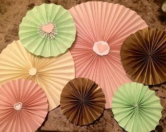 Paper fan - Mint/Pink/Vanilla 7 pcs