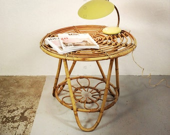 Rattan and bamboo coffee table from the sixties.
