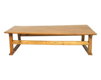 Chinese Rustic Carved Low Coffee Table