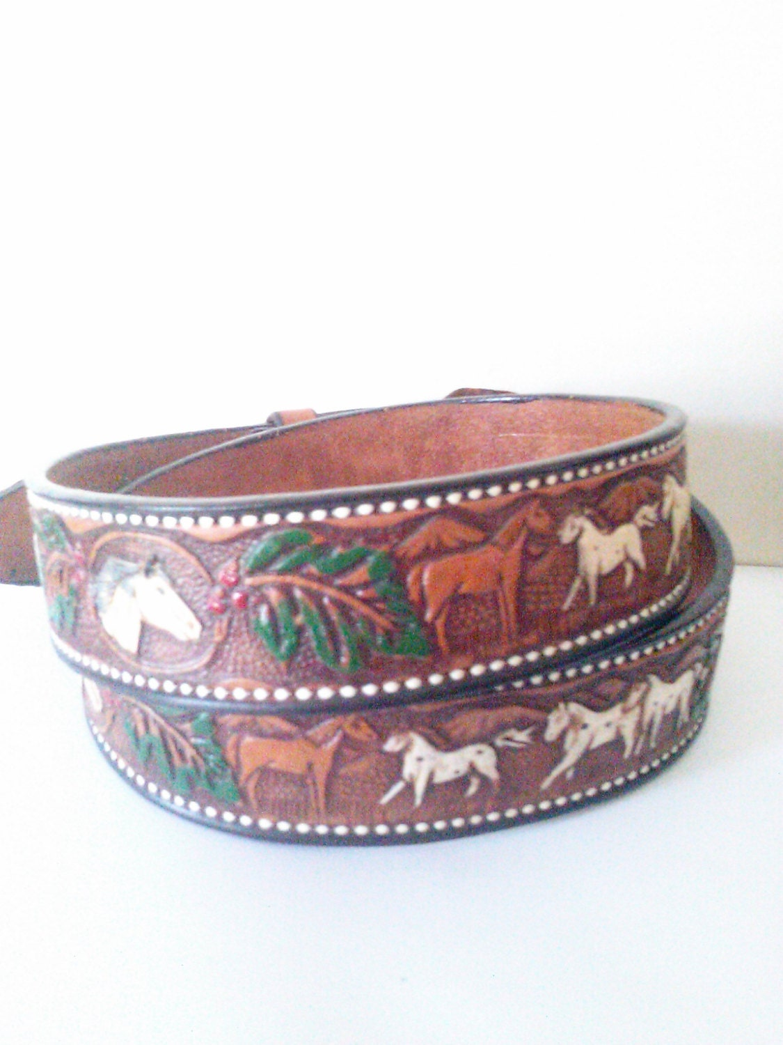 vintage mexican leather tooled belt