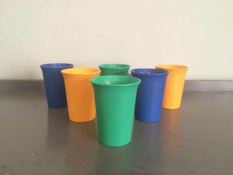 Sale six multi colored tupperware small plastic cups 109 for Small plastic cups