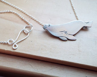 Swimming Walrus Necklace in Sterling Silver