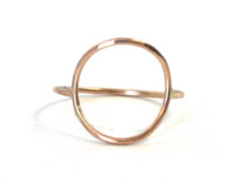 New Moon Ring, Gold Circle Ring