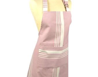 Kitchen 70x85cm fabric 100% cotton Pastel lilac-striped apron