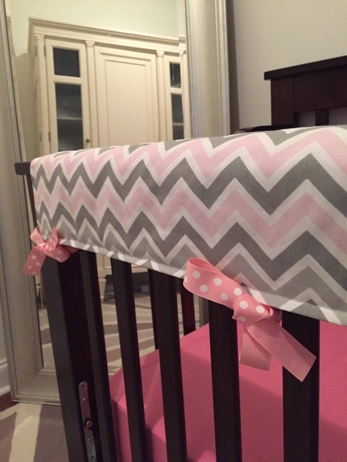 Pink Teething Guard Pink And Gray Chevron By Babyetiquette