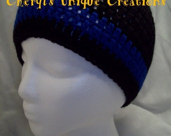 Father & Son Thin Blue/Red Line or EMS Thin Line Crocheted Beanie Set - Handmade/Hand Crocheted