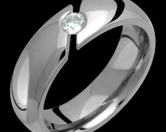 6mm Titanium & Diamond Tension Set Ring Custom Made