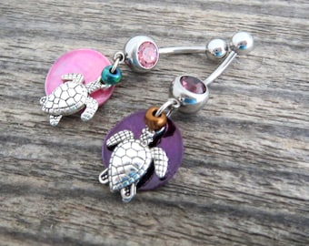 Little Sea Turtle Belly Ring with Shimmery Shell, Stainless Steel Barbell - Dangling Body Jewelry, Belly Button Ring Dangle