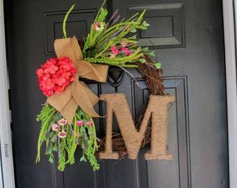 Monogram Wreath, Hydrangea Wreath, Summer Wreath, Front Door Wreath, Door Wreath, initial wreath, grapevine wreath, front door initial