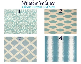 Valances. Blue Curtain.Window treatment.  Village Blue and white. Designers pattern.Choose  your pattern and sizes